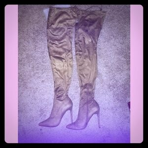 Shoes - Suede Olive Thigh High Stiletto Boots